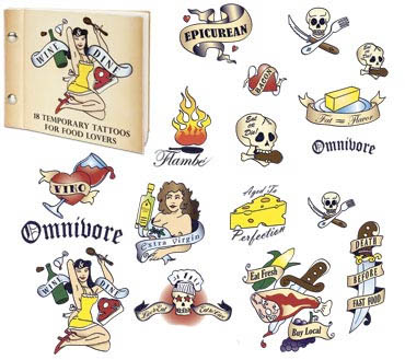 hard-cover book contains eighteen non-toxic temporary tattoos ranging in